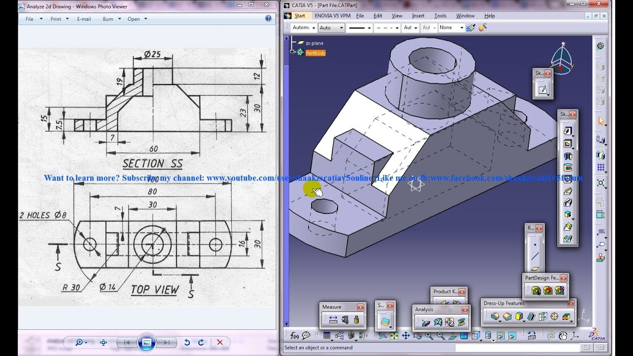 Catia V5 Tutorial How To Read Create 3d Models From 2d Drawings P2