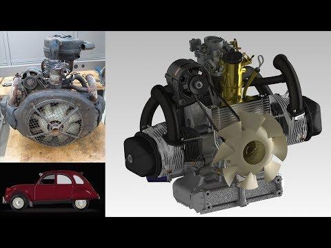 Moteur Citroën 2CV (démontage, modélisation): Projet Génie mécanique HEIA-FR