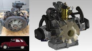 Citroën 2CV engine (disassembly, modeling), Mechanical engineering project HEIA-FR