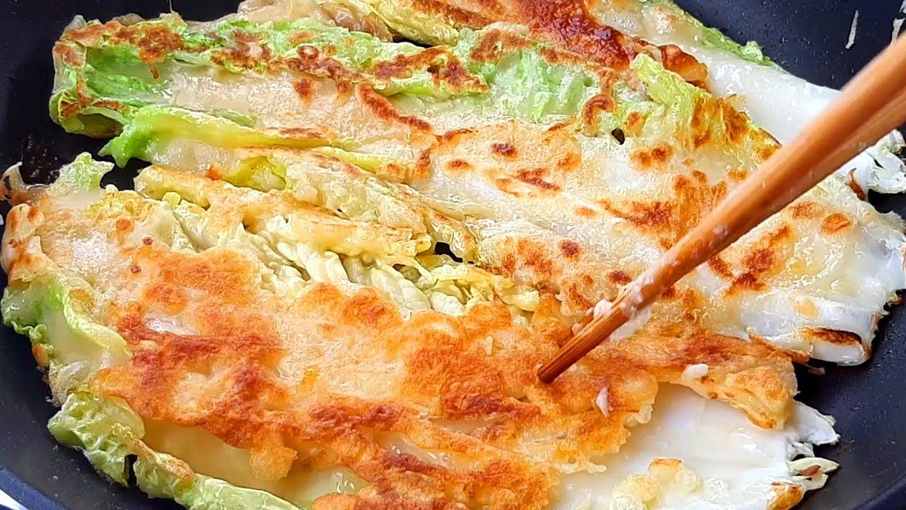 แพนเค้กผักกาดขาว ทำง่ายและอร่อยมาก Baechujeon Cabbage Pancake