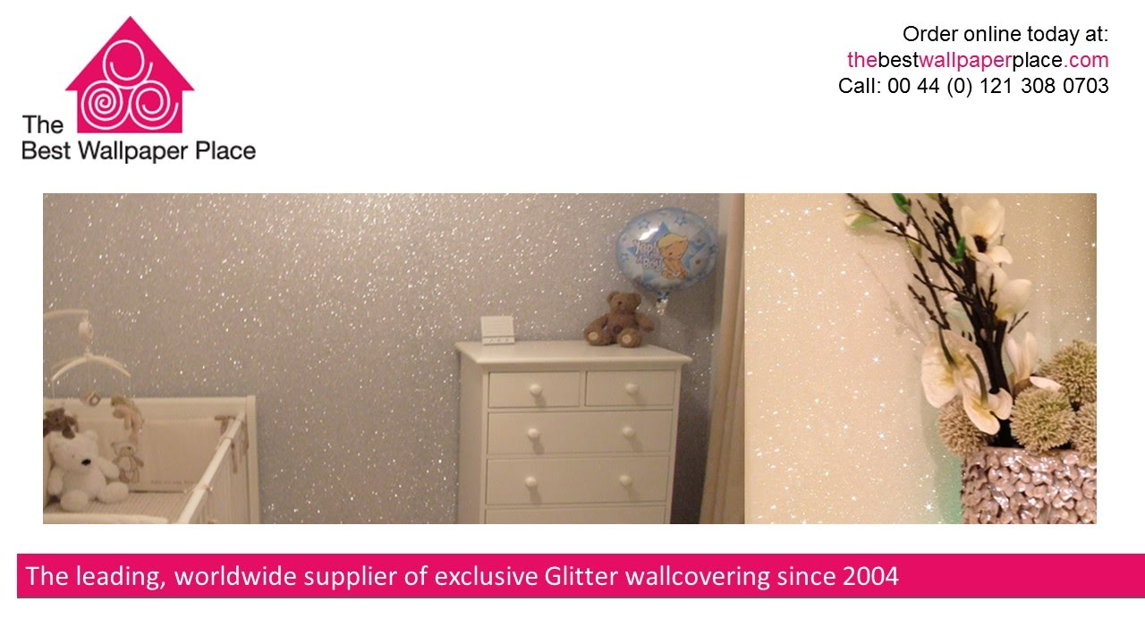 White and Cream Glitter Wall Coverings