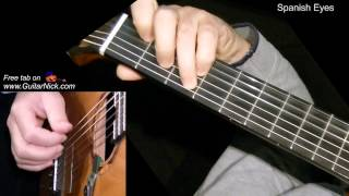 SPANISH EYES: Fingerstyle Guitar Lesson + TAB by GuitarNick