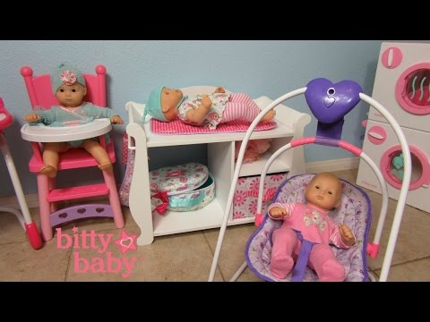 BITTY BABY Doll +Washer Dryer + Changing Table+High chair + You & Me Swing +Daphnee +Bella + Ella