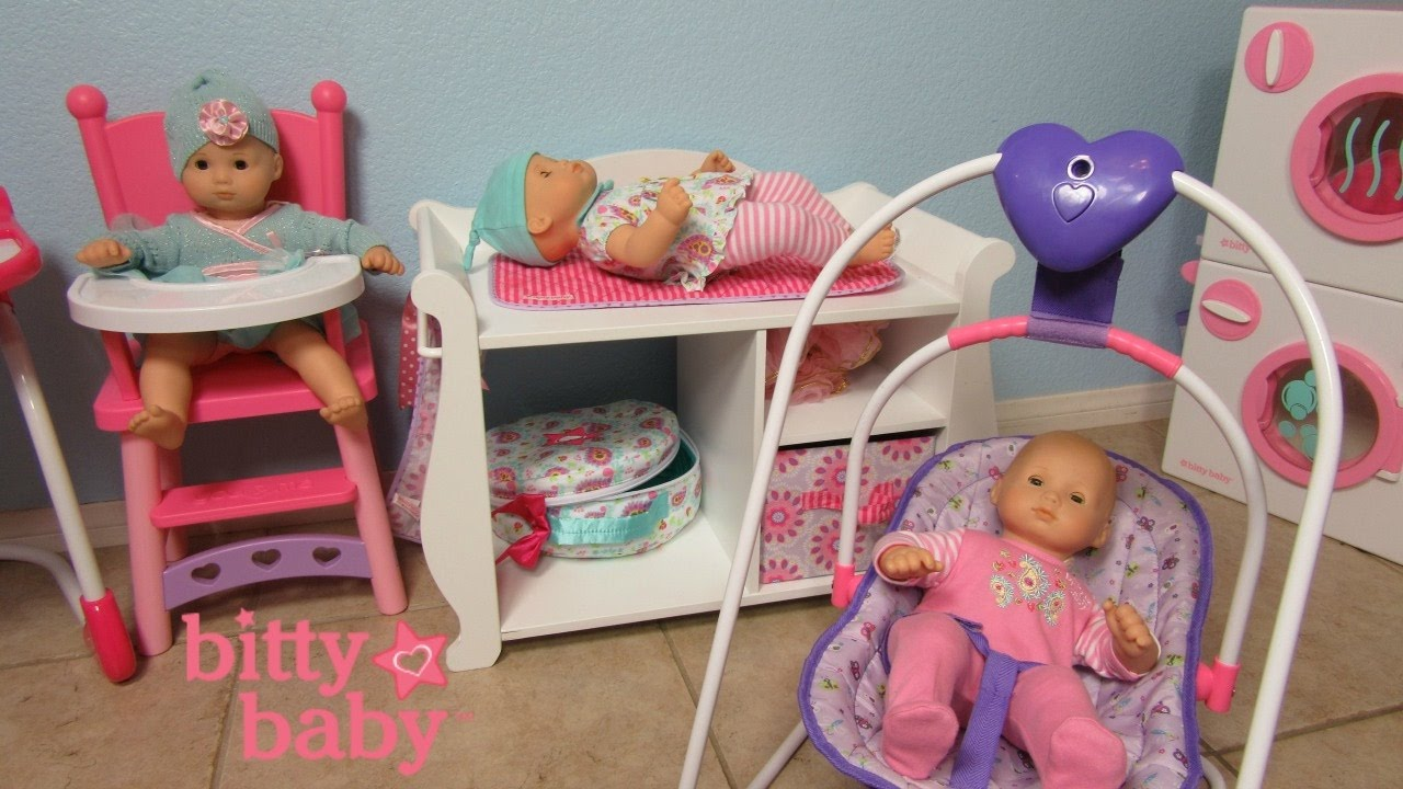 baby doll high chairs fishing chair tackle box bitty washer dryer changing table you me swing daphnee bella ella youtube