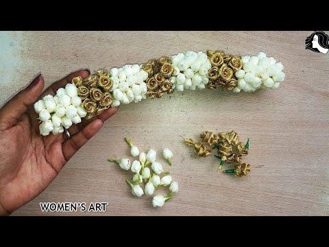 how to make bridal flower veni | artificial flower veni making