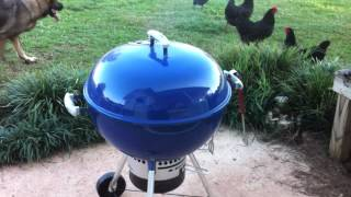 "Grilled Chicken on the Blue Weber Kettle one touch gold 22.5"" grill."