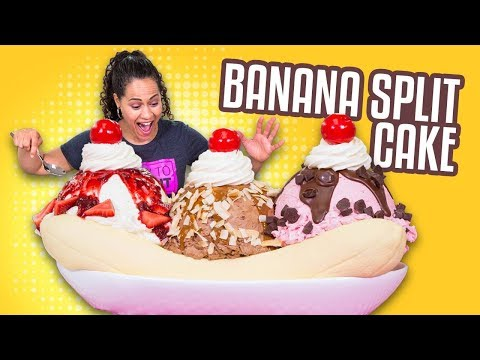 Banana Split CAKE!! | YO'S BIRTHDAY SPECIAL | How To Cake It