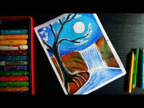 Oil pastel moonlight waterfall scenery drawing tutorial | oil pastel landscape drawing