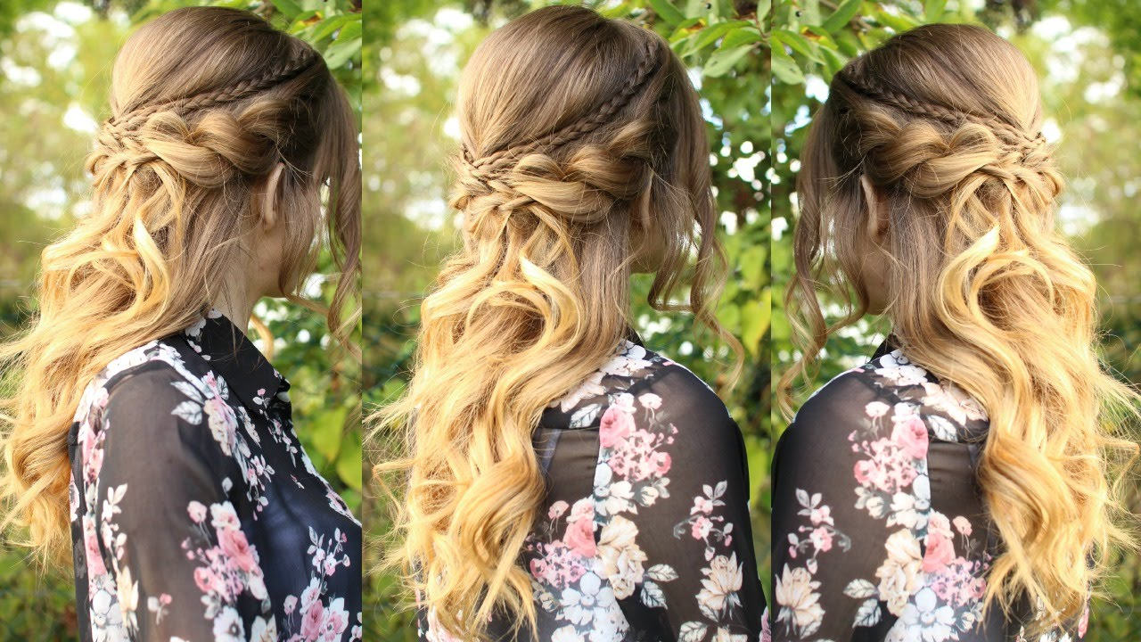 Half Up Half Down Wedding Hairstyles For Medium Length Hair: Romantic Half Up Half Down Hairstyle With Curls