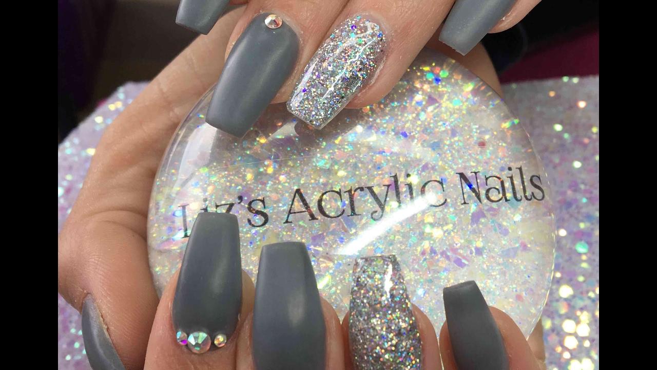 Acrylic Nails | Matte Grey | 50 Shades Of Grey - YouTube