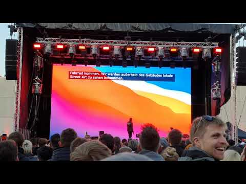 Elon Musk on stage at the Giga Berlin county fair