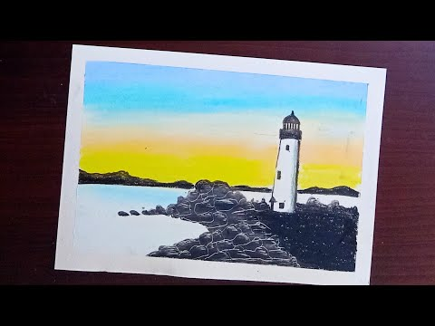 Lighthouse Sunset Scenery Drawing with Oil Pastels - Step by Step