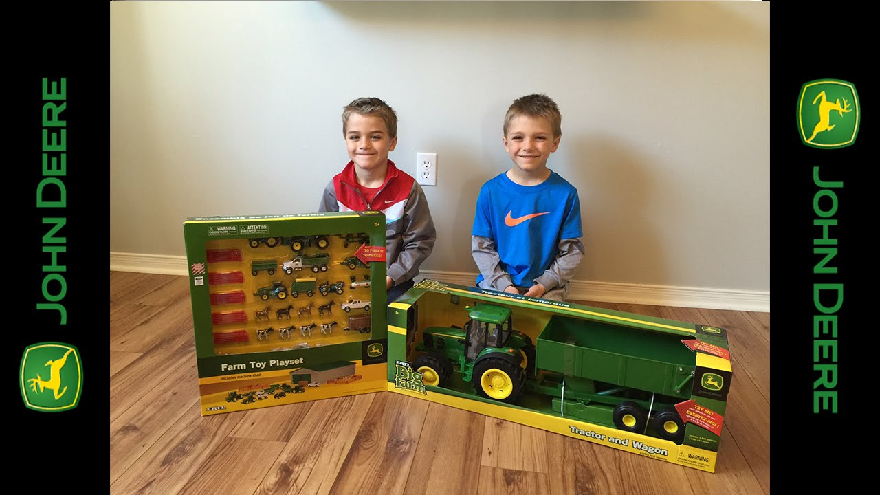 Unboxing john deere tractor and wagon big farm toy youtube