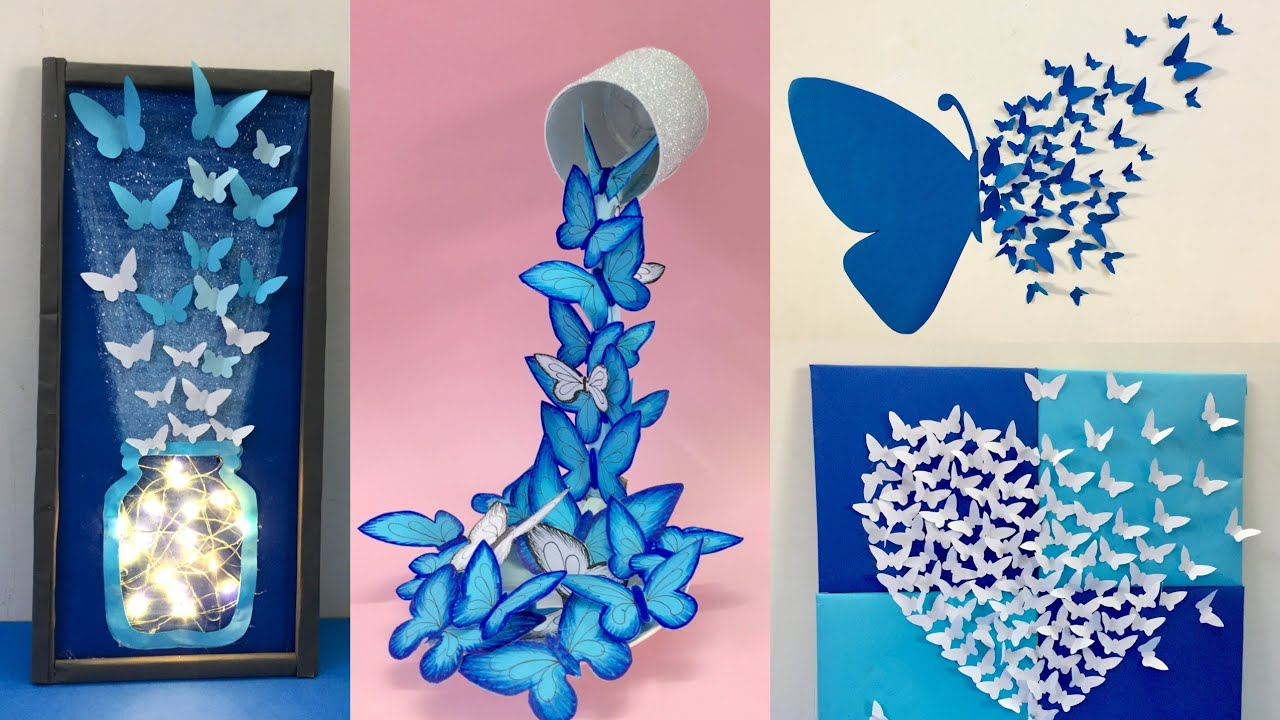 8 Easy And Awesome Room Decor Ideas With Paper Butterfly How To Make Paper Butterfly Youtube