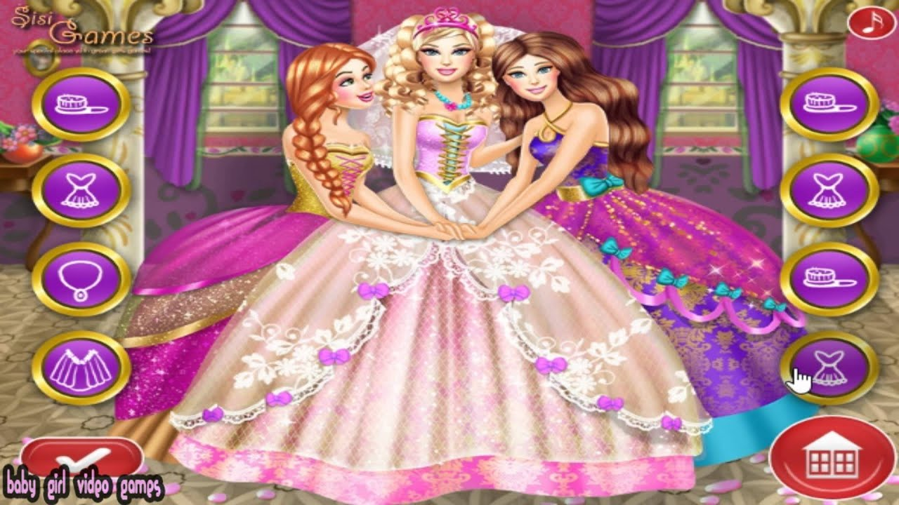 Barbie Princess Wedding - Barbie Dress Up Game For Girls - YouTube