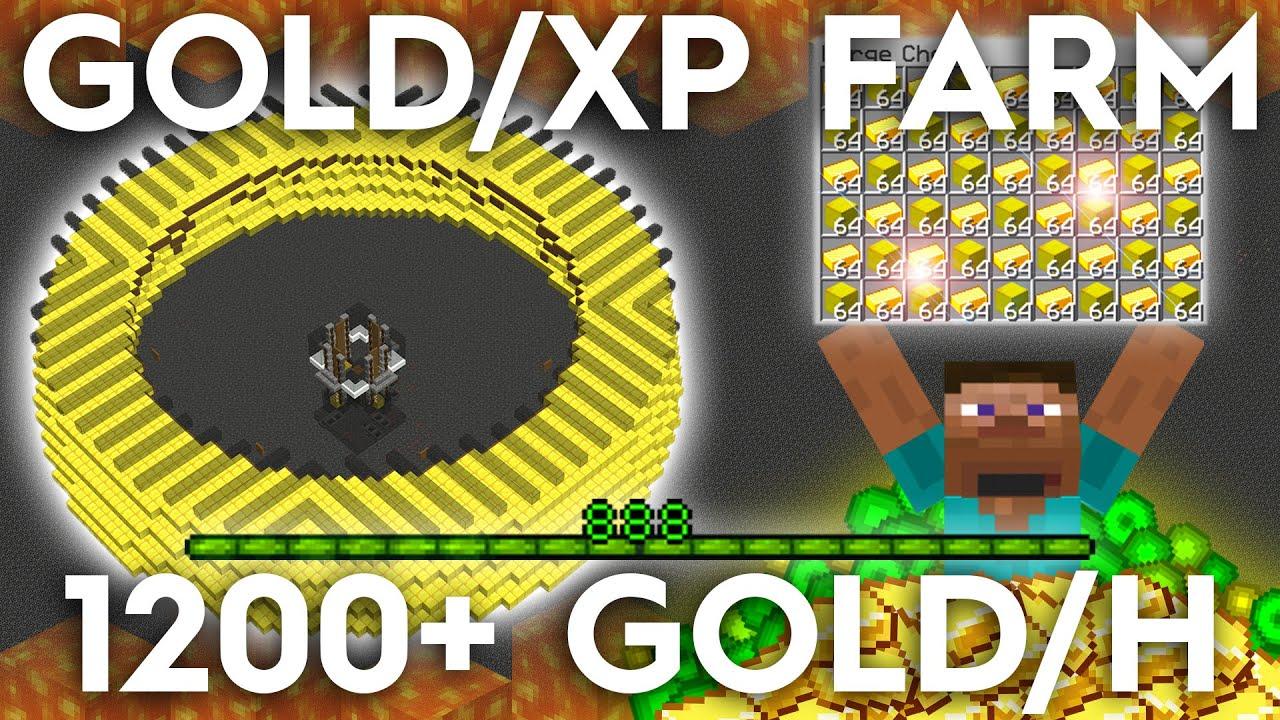 Minecraft Gold/XP Farm - 8+ Ingots per Hour - Zombie Pigman Farm - 8.85
