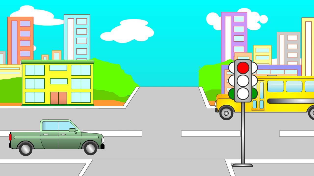Educational cartoons for children. Traffic. Traffic light. Police ...