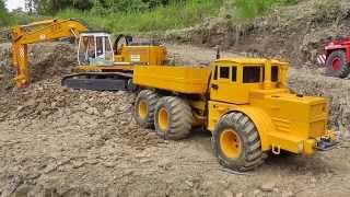 RC HEAVY CONSTRUCTION ZONE! R-C TAMIYA, VOLVO WHEEL LOADER! COOL RC DUMPER AT THE MINE2017!