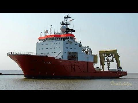 offshore research & survey vessel AETHRA 5BHH4 IMO 9181481 inbound Emden Port Forschungsschiff