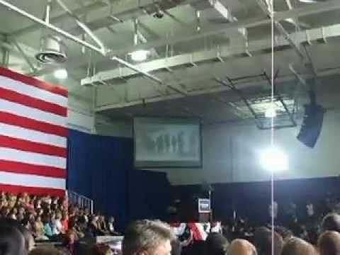 Debbie Wasserman Schultz giving speech at Obama rally in Tampa- HCC Dale Mabry