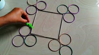 Very easy and innovative rangoli using bangles for Diwali