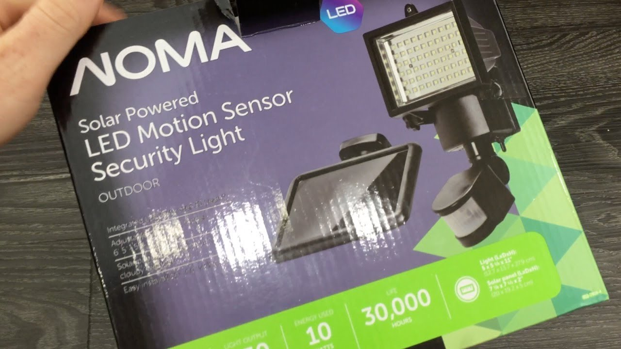 NOMA Solar Powered LED Motion Sensor Security Light UNBOXING -180 Degree LED Solar Motion Sensor
