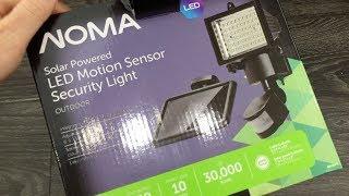 NOMA Solar Powered LED Motion Sensor Security Light UNBOXING -180 Degree LED Solar Motion Sensor