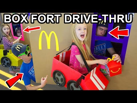Box Fort Drive Thru Driving Cardboard Box Cars to McDonalds