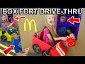 Box Fort McDonald's Drive Thru! (Gone Wrong) Driving Cardboard Box Cars