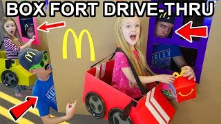 Box Fort Drive Thru Driving Cardboard Box Cars to McDonalds (Gone Wrong)