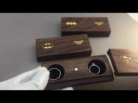 Sliding wooden ring box