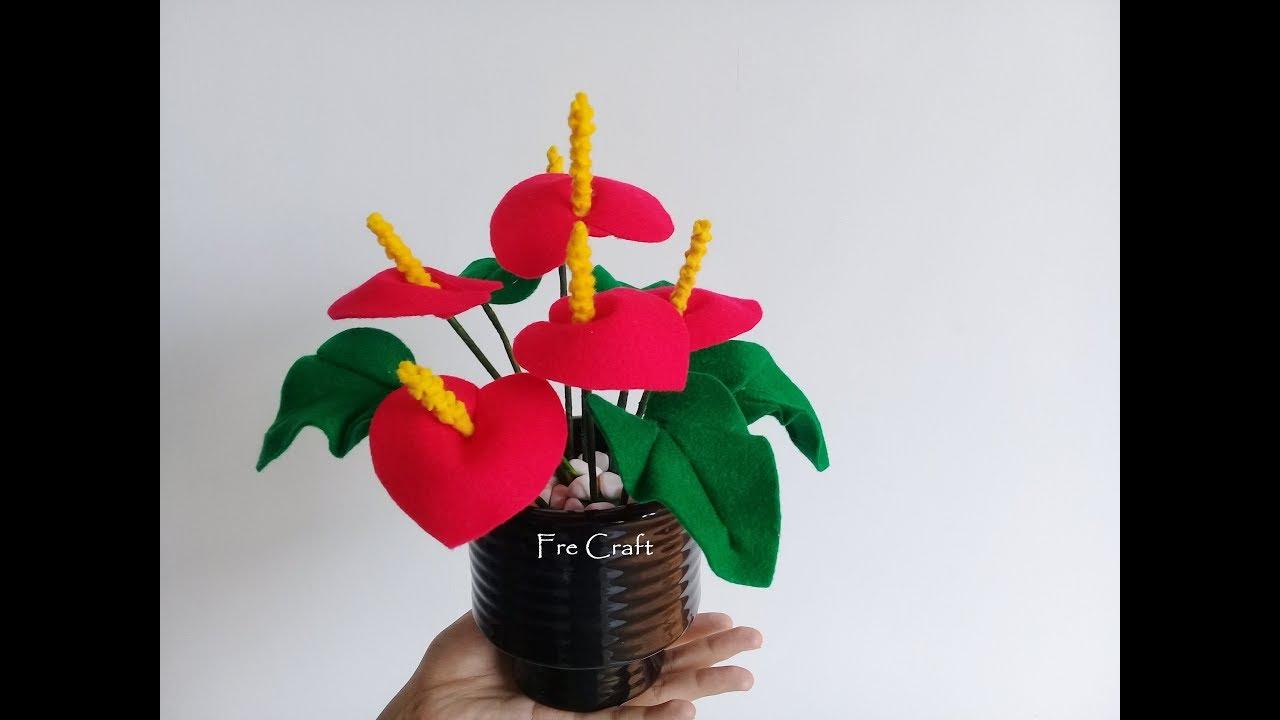 Cara Membuat Bunga Anthurium Dari Kain Flanel Youtube Bunga Kain Tenun Kain Flanel Bunga Kertas Tisu