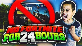 My Little Brother Cant play Fortnite FOR 24 HOURS CHALLENGE!!! WORLDS MOST ADDICTED FORTNITE PLAYER!