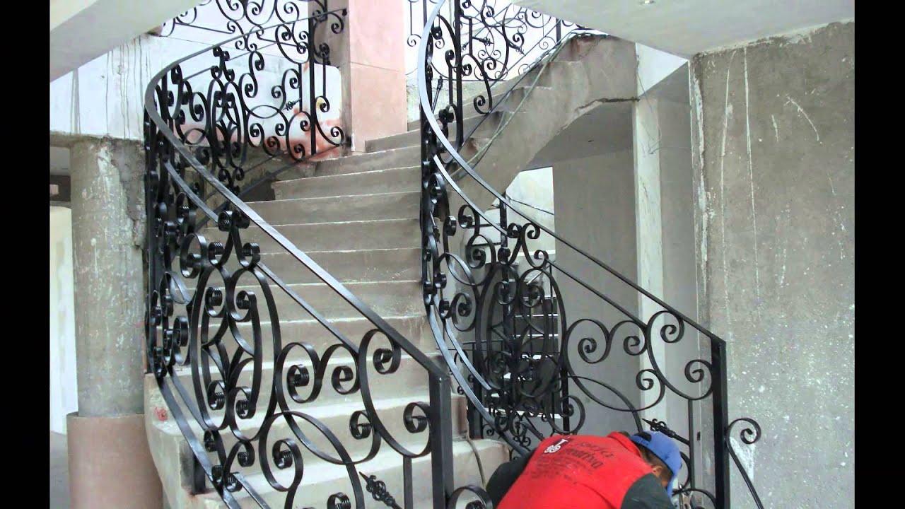 Barandal forja creativa puebla herreria hierro forjado for Escaleras de cemento para interiores