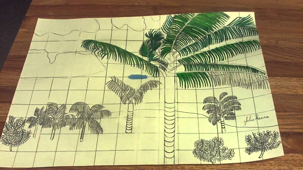 Coloring In The Hawaiian Palm Tree Scene: Part 1 - YouTube
