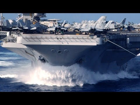 U.S. nuclear-powered SUPERCARRIER steams FULL SPEED into the