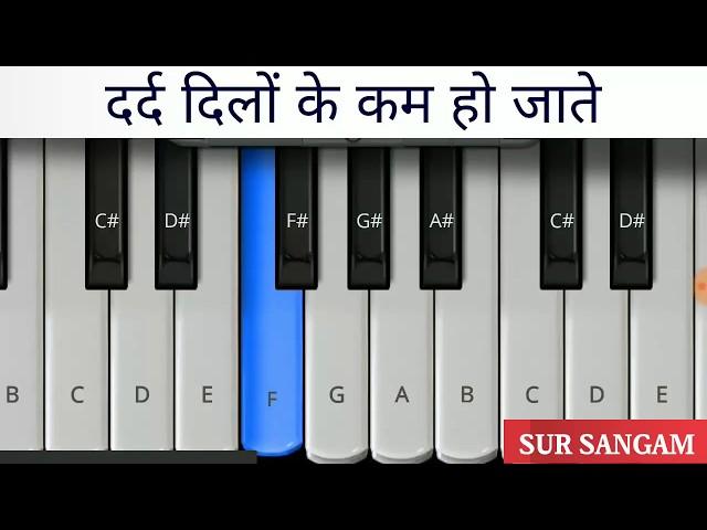 दर्द दिलो के कम हो जाते || हारमोनियम tutorial || पियानो || keyboard ||