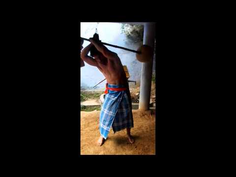 Traditional indian Gada (mace) swinging Hanuman Akhara
