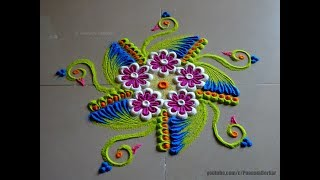 Quick and easy rangoli using bangles | Easy rangoli designs by Poonam Borkar