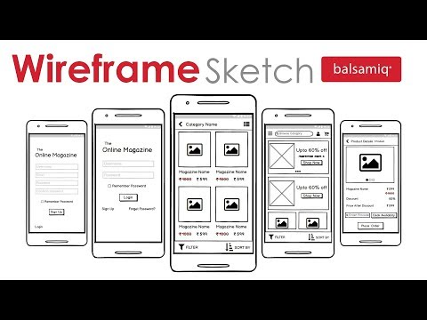 Mobile App Wireframe Sketch Using Balsamiq | Online Magazine App Wireframe  | Wireframe