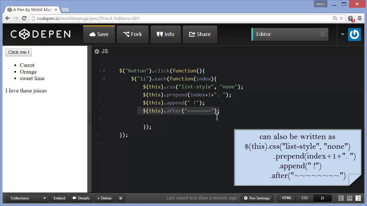 JQuery each, is , before, after, append and prepend events and methods  discussed