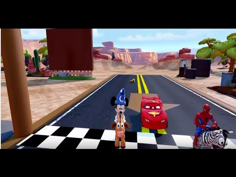 Disney Classic Spiderman playing with Mickey Mouse  and Disney Pixar Cars Lightning McQueen! |