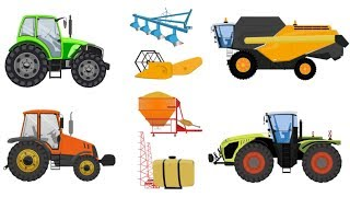 Learning Street Vehicles Name and Sound - Combine harvester ,Tractor ,Sprayer machine ,Plow
