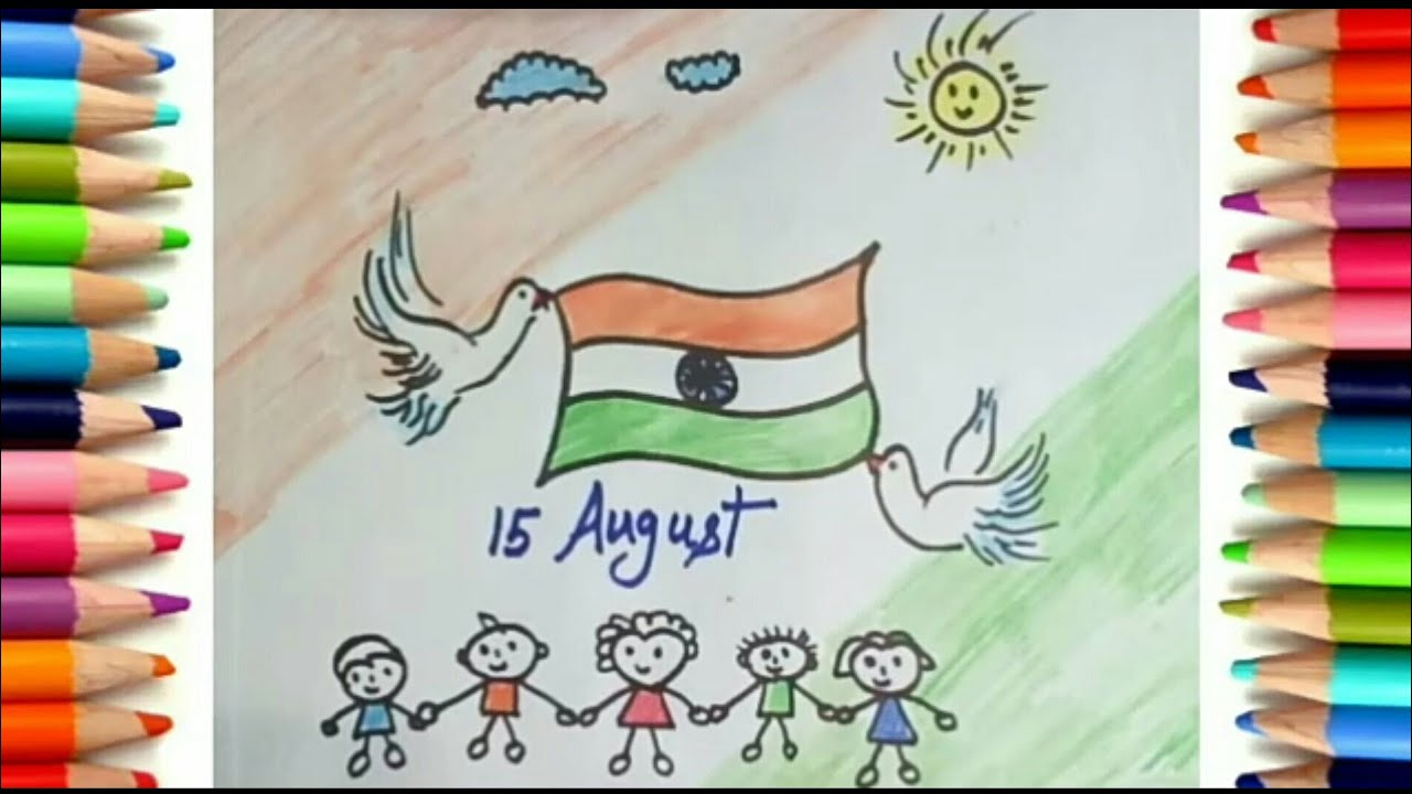 How To Draw Independence Day Scenery Kids Indian Flag Drawing