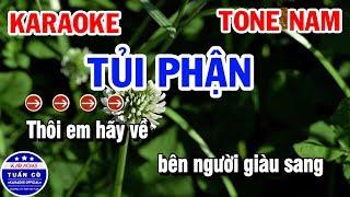 Karaoke Tủi Phận Tone Nam Gm Nhạc Sống | Karaoke Tuấn Cò