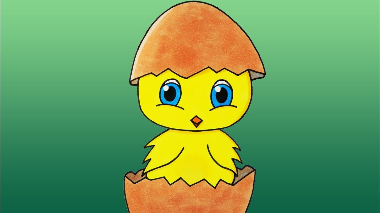 how to draw a cute baby chicken youtube