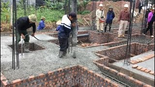 Build Houses Step By Step - Traditional Beam Foundation Building Using Ready Mixed Concrete