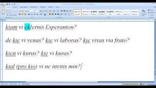 Corso di esperanto per italofoni. Lezione 7 (parte 3). 28/04/2020.