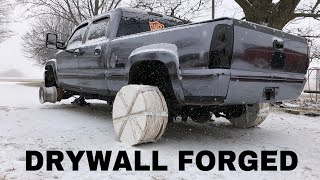 I made DRYWALL WHEELS for my 7,000lb Duramax