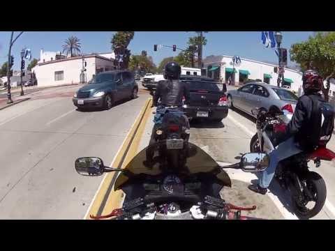 LAMR Santa Barbara Beachbreak Ride - Splashing U-Turn and Girl Opens Door for Guys